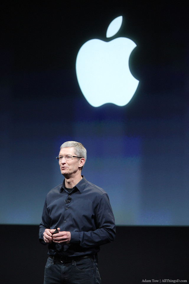 Tim Cook takes the stage for the first time as Apple CEO.