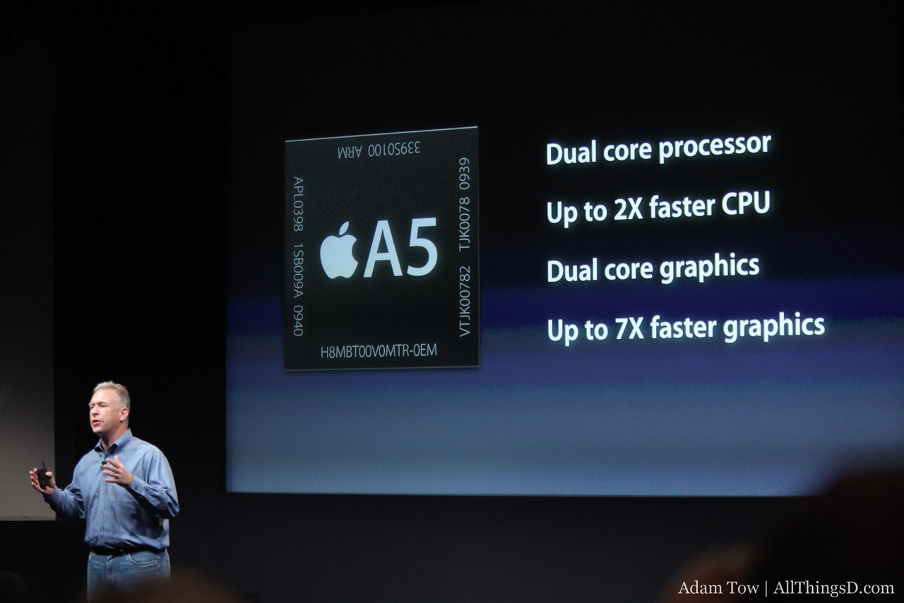 The iPhone 4S features an A5 processor.