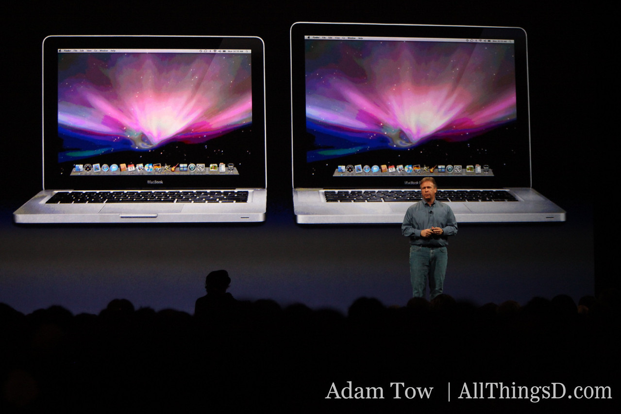 """Phil in front of the MacBook and the 15"""" MacBook Pro"""