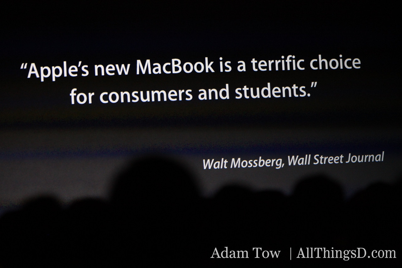 Walt Mossberg's quote about the new MacBook.