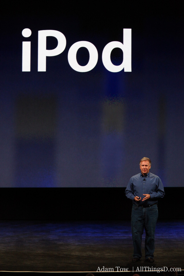 Schiller takes the stage to talk about the iPod.
