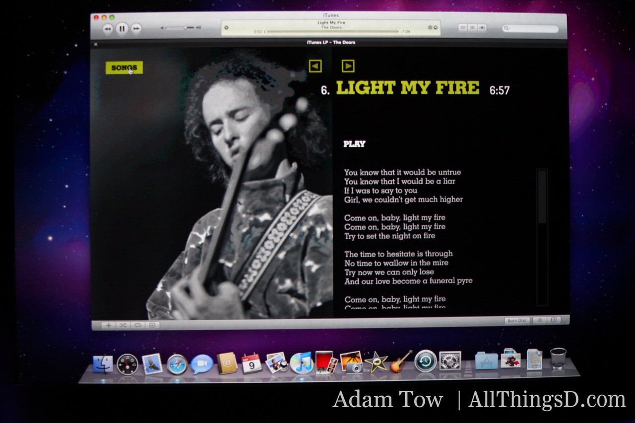 A screen from iTunes LP--the presentation team is beginning to date itself.