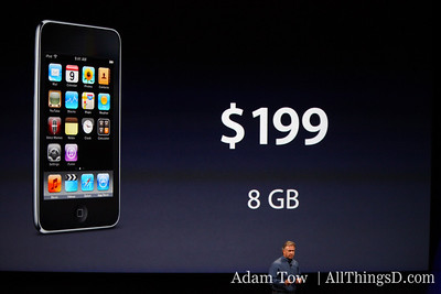 Schiller returns to the stage to talk about new price points for the iPod Touch--starting with $199 for the 8 GB model.