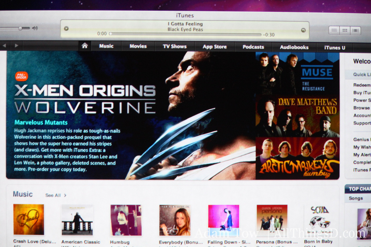 Showcasing the new iTunes Store interface.