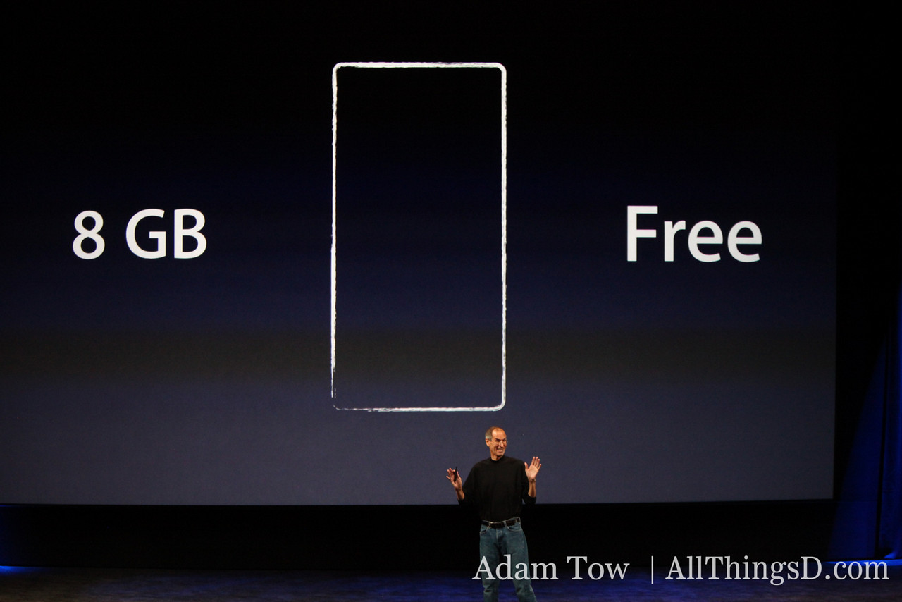 He announces that the iPod Nano now features a video camera--for free. You have to buy the Nano, however.