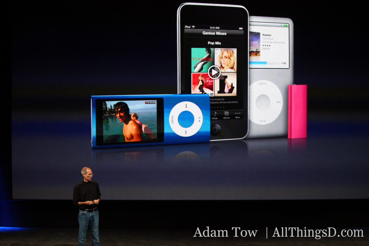 The whole iPod family, in one picture: iPod Nano, iPod Touch, iPod Classic and iPod shuffle.