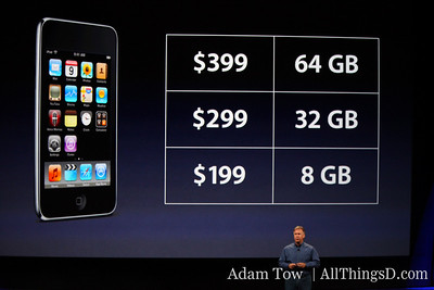The rest of the iPod Touch family is getting price cuts too-- $399 for the 64 GB model and $299 for the 32 GB model.