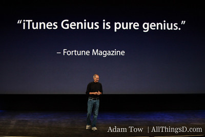 Jobs introduces one of iTunes 9's new features--Genius mixes.