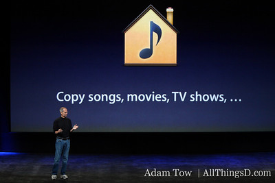 Jobs talks about sharing media among home computers with iTunes 9.