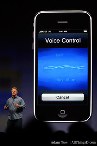 Paul Schiller, Apple CEO, demos new voice control feature.