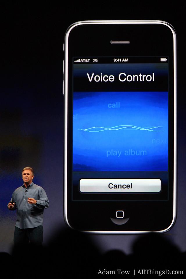 Paul Schiller, Apple CEO, demos new voice control feature.