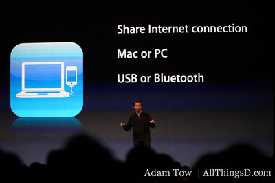 Scott Forstall, Apple SVP talks through tethering: Works on Mac or PC, over USB or Bluetooth, with no need for additional software.