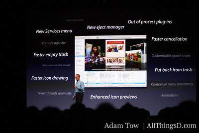 Bertrand Serlet, Apple's SVP of Software Engineering, runs through new features.