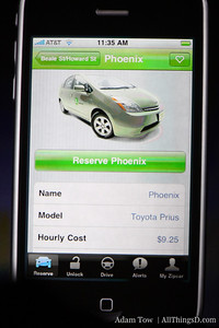Zipcar's new iPhone app tracks and locates zipcar locations, and lists pricing and model info.