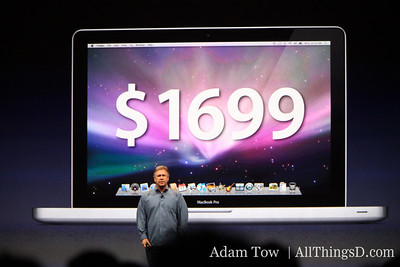 Paul Schiller, CEO of Apple, announces pricing for new version of the 15-inch MacBook Pro.