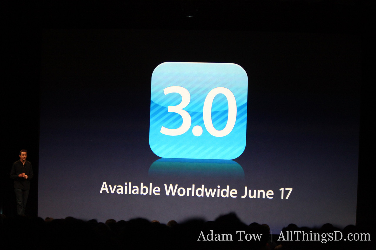 Scott Forstall returns to the stage for some final words about iPhone 3.0. Free for iPhone owners. $9.95 for iPod Touch owners. Available worldwide June 17.