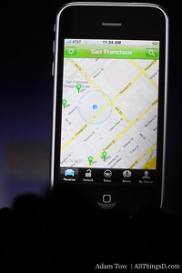 Zipcar's new iPhone app tracks zipcar locations for a particular locale, and notifies users of availability.