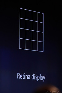 """What's retina display? We've dramatically increased pixel density…we're putting 4 times as many pixels in any given space. This will give us really, really sharp text when we zoom in."""