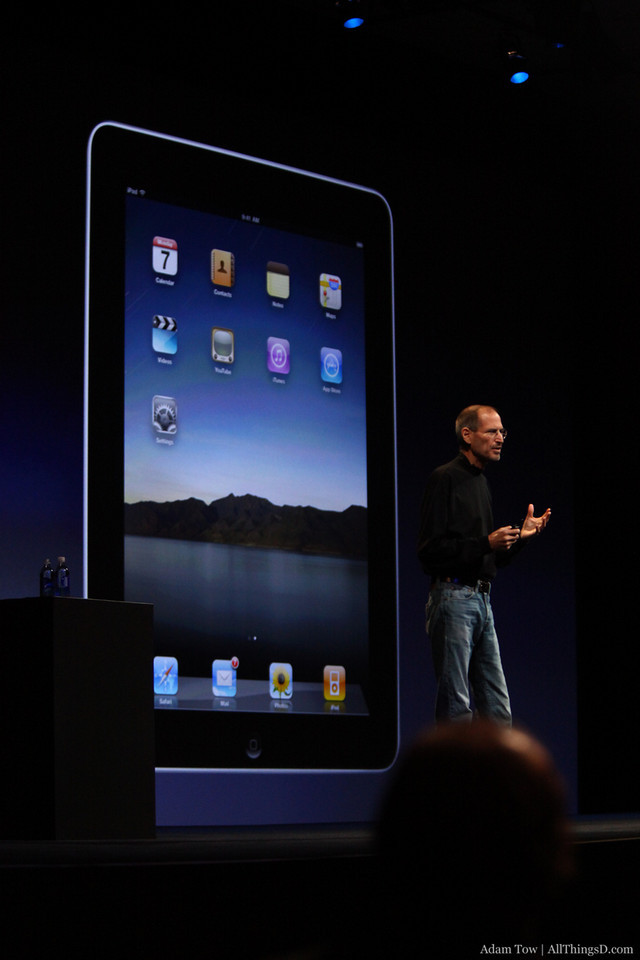 """Jobs:  """"We're in 10 countries today, we're going to be in 19 by July…we're making iPads as fast as we can."""""""