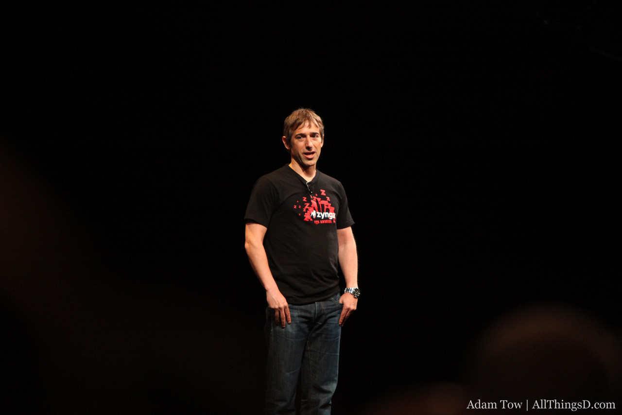 Mark Pincus, CEO of Zynga, takes the stage to announce Farmville for the iPhone.