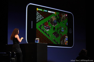 """Farmville app is cross platform; the farm she's working on her iPhone is the same as on Facebook. """"Say goodbye to withering crops, we now have push notifications."""""""