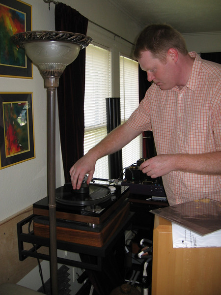 Our host placing a record on the turntable