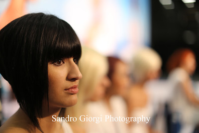Aquage model on stage. Aquage artistic Team at Armstrong Mc Call Fashion Focus Hair Show in Corpus Christi; Texas. May 2014. Photo by Sandro Giorgi