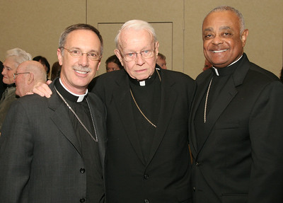 Bishop Luis R. Zarama, Archbishop-emeritus John F. Donoghue and Archbishop Wilton D. Gregory pose for a photo as all three Atlanta bishops attended the 2010 Shepherd's night at Holy Spirit Church, Atlanta.                                      (Page 14, February 18, 2010 issue)