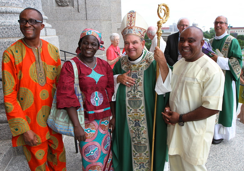 More Mass attendees pose with Archbishop Hebda after Mass. Dave Hrbacek/The Catholic Spirit