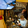 Jeremiah Watt does an engraving demonstration for GRS Tools during the Rocky Mountain Leather Trade Show Friday at the Holiday Inn Convention Center.