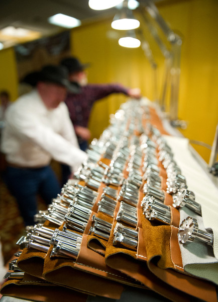 Several leather-stamping tools made by Barry King are set on display during the Rocky Mountain Leather Trade Show Friday at the Holiday Inn.