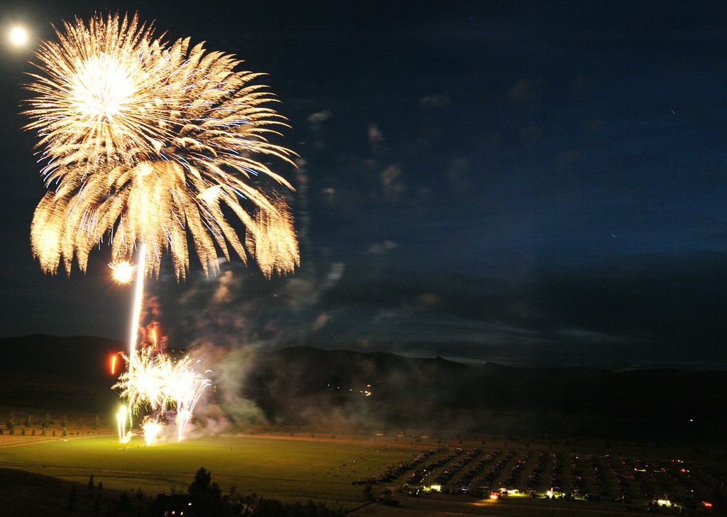 A multiple exposure show fireworks exploding over the polo fields during the fireworks celebration on Independence Day Friday night at the Big Horn Equestrian Center. The Sheridan Press Justin Sheely.