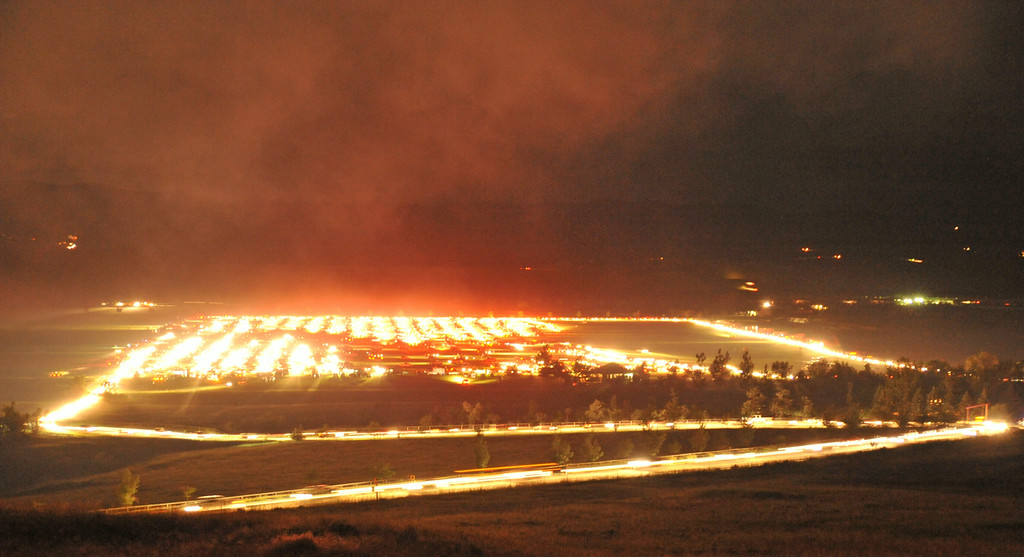 Motorists flood out of the exits after the fireworks show Friday night at the Big Horn Equestrian Center.