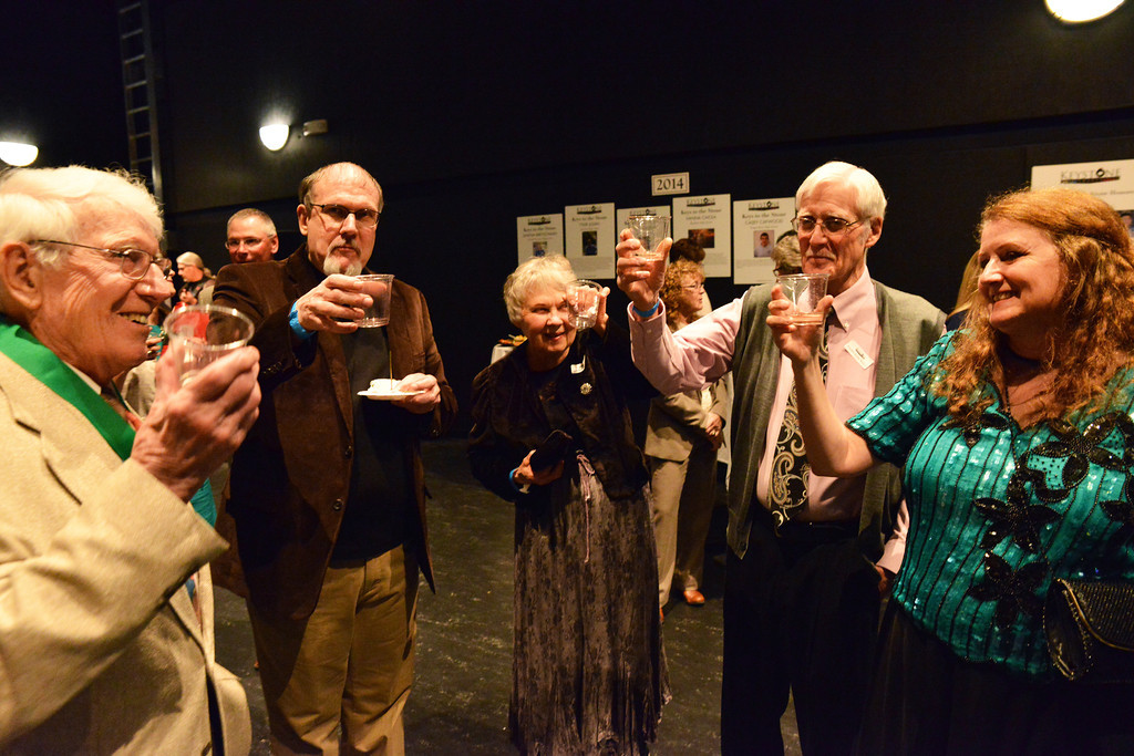 A toast is made in honor of Keystone honoree Bill Avery, left, prior to the Keystone Awards event Thursday night at the Sheridan WYO Black Box Theater. From left, Bill Avery, Jon Avery, Jeannene McKnight, Gary McKnight, and Lois Bell. The Sheridan Press|Justin Sheely