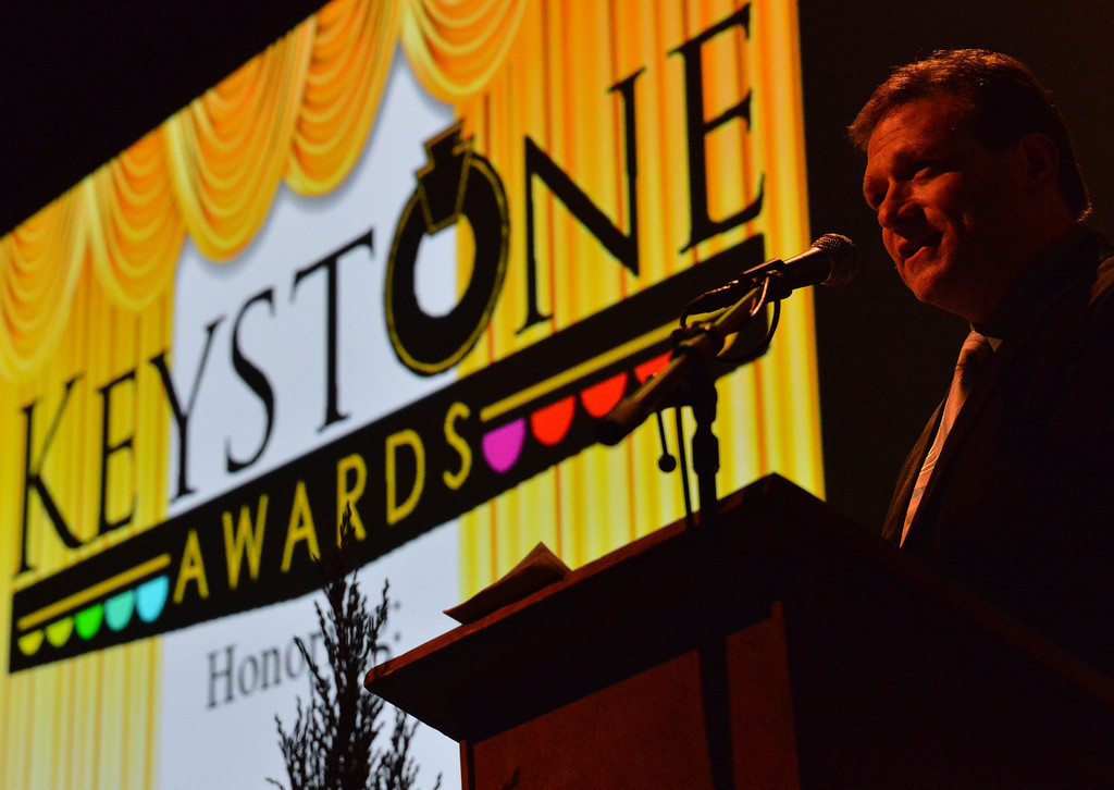The Master of Ceremonies Bob Grammens begins the show during the Keystone Awards Thursday at the WYO Theater. The Sheridan Press|Justin Sheely