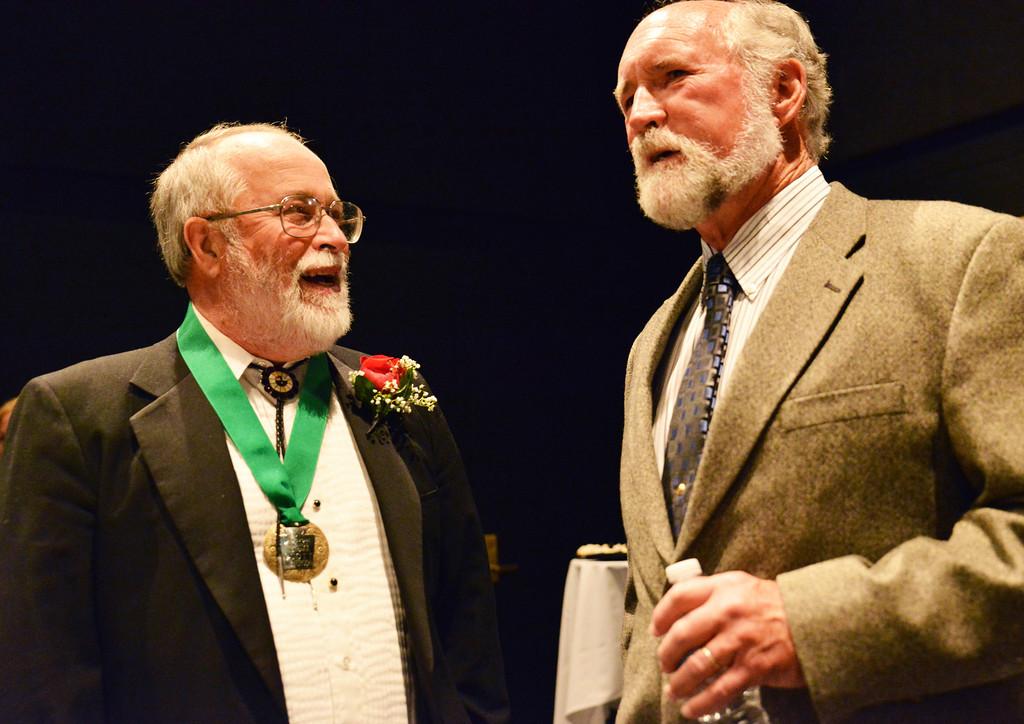 Keystone honoree Scott Nickerson, left, visits with Gene Davis during the 2014 Keystone Awards Thursday night at the Sheridan WYO Black Box Theater. The Sheridan Press|Justin Sheely