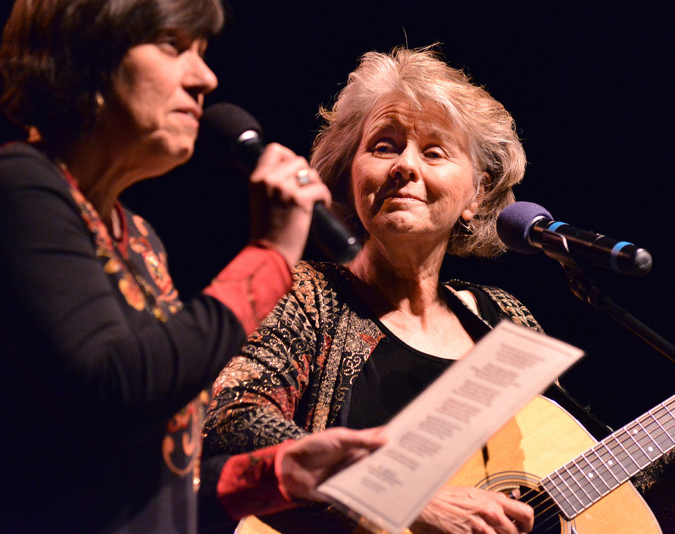 Pat Tomsovic looks over at Tami Davis as they perform a song to honor former music instructor Bill Avery during the Keystone Awards Thursday at the Sheridan WYO Theater. Davis was a student of Avery's when she was a student at Sheridan High School.