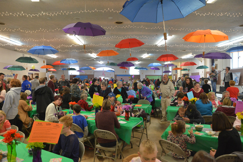 Justin Sheely | The Sheridan Press<br /> Guests mingle during the VOA's Empty Bowl chili dinner fundraising event Thursday at the Sheridan County Fairgrounds exhibit hall. The event benefits the Sheridan Community Shelter. This year's event saw record breaking attendance with more than 850 guests.