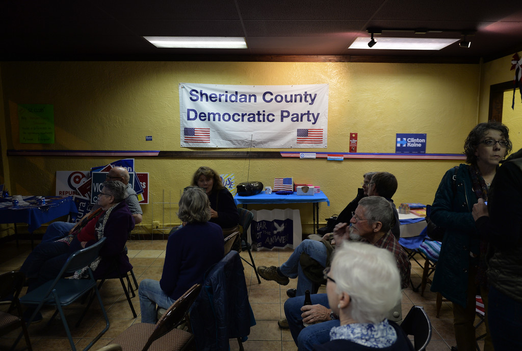 Justin Sheely | The Sheridan Press<br /> People watch election results Tuesday night at the Sheridan County Democrats Headquarters in Sheridan.