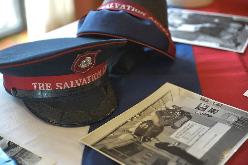 Justin Sheely | The Sheridan Press<br /> Salvation Army artifacts are displayed during the Salvation Army Good Samaritan Awards Banquet Saturday evening.