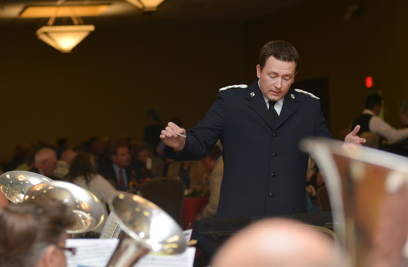 Justin Sheely | The Sheridan Press<br /> Intermountain Divisional Brass Band director Todd Griffin leads a song during the Salvation Army Good Samaritan Awards Banquet Saturday evening. The Sheridan Press is a sponsor of the Good Samaritan Awards.