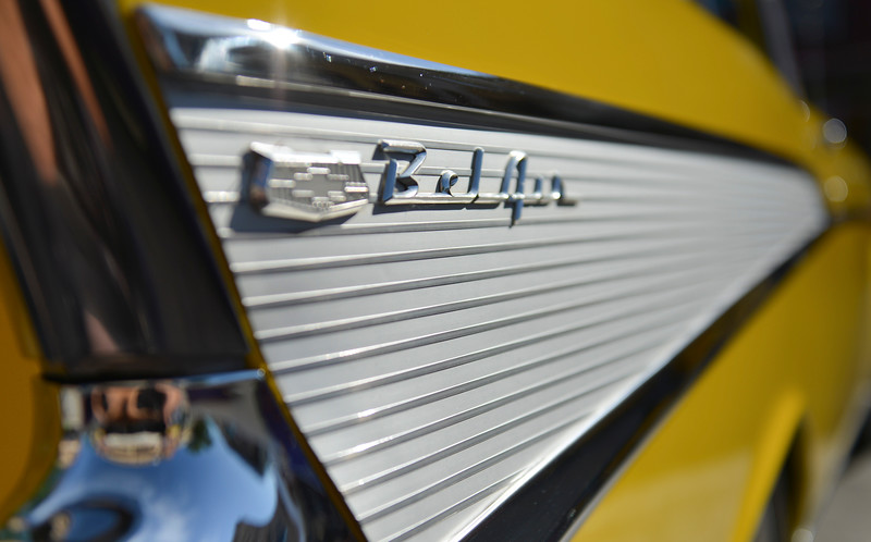 Justin Sheely | The Sheridan Press<br /> A detail from a '57 Chevy Belair during the Karz Rod Run car show Saturday morning on Main Street. The show had more than 160 entries this year – one of the fullest in recent years.