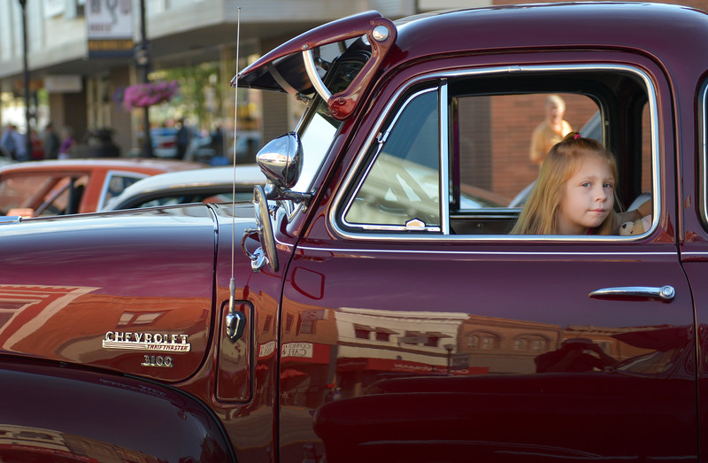 Justin Sheely | The Sheridan Press<br /> Six-year-old Madison Borgialli sits in her dad's '49 Chevrolet truck during the Karz Rod Run car show Saturday morning on Main Street. The show had more than 160 entries this year – one of the fullest in recent years.