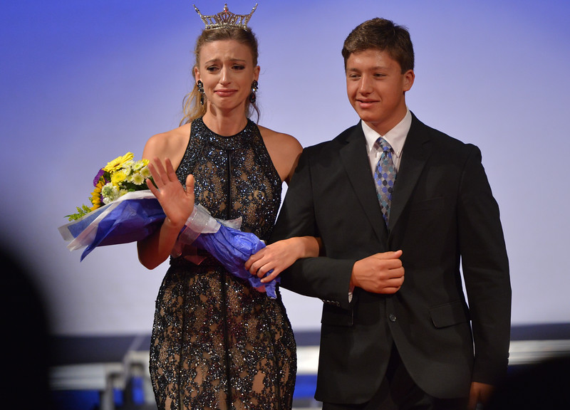 Justin Sheely | The Sheridan Press<br /> Emotions register on 2015 Miss Wyoming Mikaela Shaw's face as she is escorted for her final walk during the 2016 Miss Wyoming pageant Saturday night at the WYO Theater. Miss South Central Jordyn Hall was crowned as the 2016 Miss Wyoming to represent the state during the Miss USA 2016 competition.