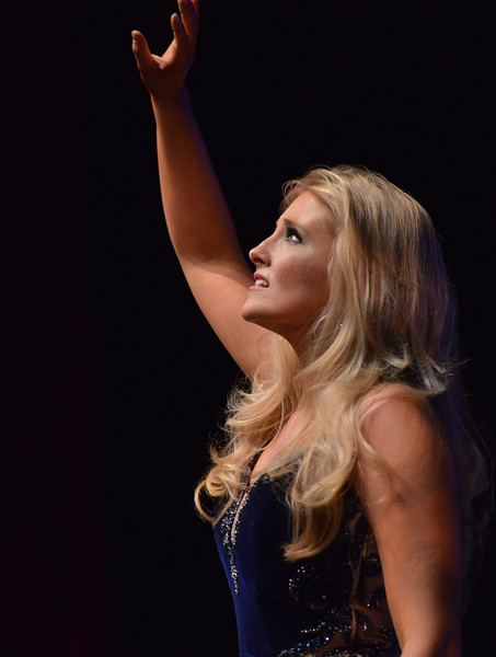 Justin Sheely | The Sheridan Press<br /> Miss Laramie Angela Thomas sings for the talent portion during the 2016 Miss Wyoming pageant Saturday night at the WYO Theater. Miss South Central Jordyn Hall was crowned as the 2016 Miss Wyoming to represent the state during the Miss USA 2016 competition.