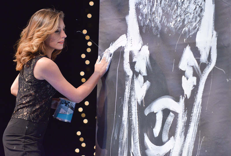 Justin Sheely | The Sheridan Press<br /> Miss Wind River Jaquelynn Dahlstedt does a speed painting for her talent during the 2016 Miss Wyoming pageant Saturday night at the WYO Theater. Miss South Central Jordyn Hall was crowned as the 2016 Miss Wyoming to represent the state during the Miss USA 2016 competition.
