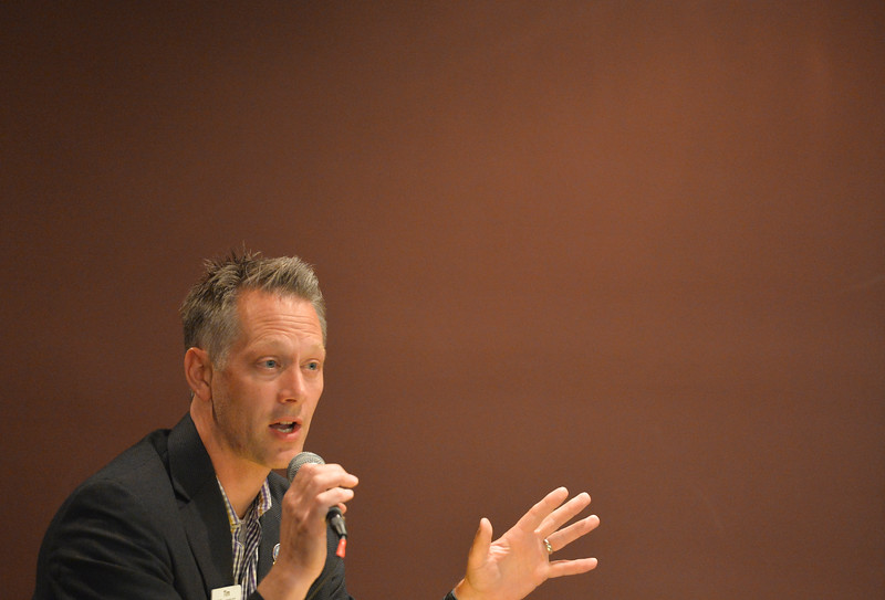 Justin Sheely | The Sheridan Press<br /> Republican candidate for U.S. Congress Tim Stubson, R - Casper, speaks during the Sheridan County of Commerce's Candidate Forum Tuesday night at the Sheridan Wesleyan Church.