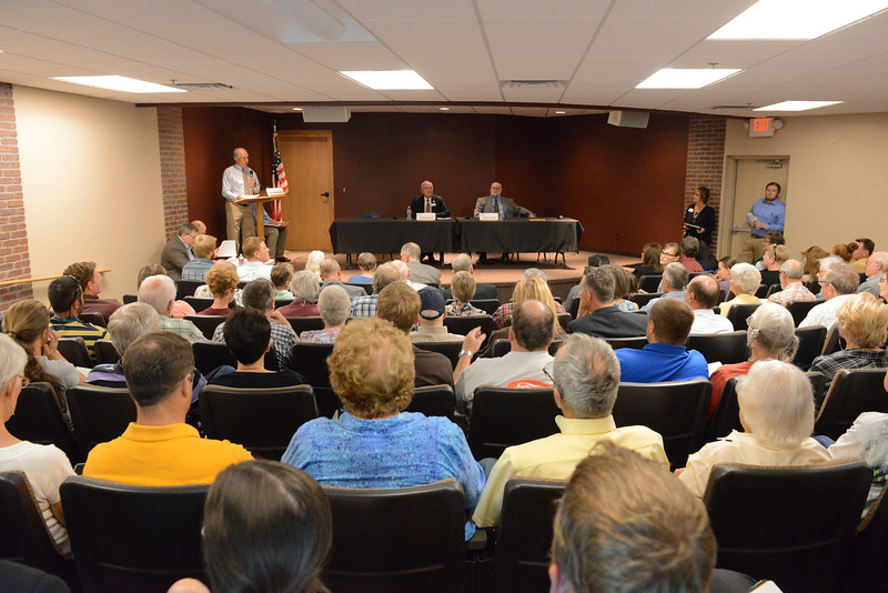 Justin Sheely | The Sheridan Press<br /> Community members pack the room during the Sheridan County of Commerce's Candidate Forum Tuesday night at the Sheridan Wesleyan Church.
