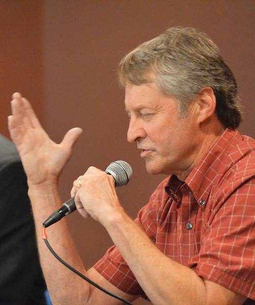 Justin Sheely | The Sheridan Press<br /> House District 51 democratic candidate Hollis Hackman speaks during the Sheridan County of Commerce's Candidate Forum Tuesday night at the Sheridan Wesleyan Church.