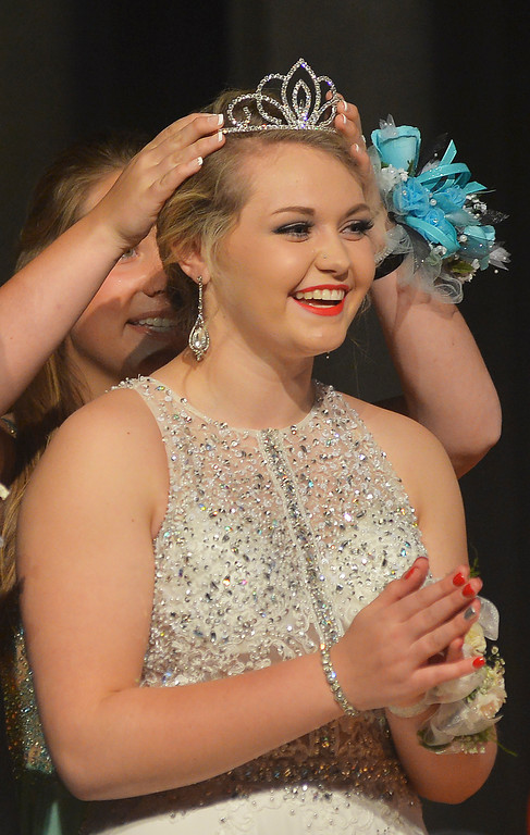 Maddy Boll is crowned 2016 Prom Queen Saturday at Tongue River High School in Dayton. Justin Sheely / The Sheridan Press.